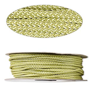 cord, nylon, lime green, 3mm round. sold per 100-foot spool.