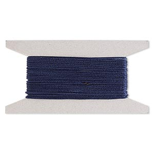 cord, nylon, navy blue, 2mm round. sold per 25-foot card.