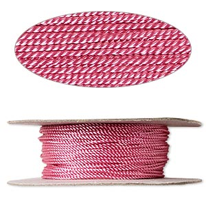cord, nylon, pink, 1mm twisted. sold per 100-foot spool.