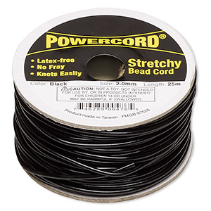 cord, powercord, elastic, black, 2mm, 21.5-pound test. sold per 25-meter spool.