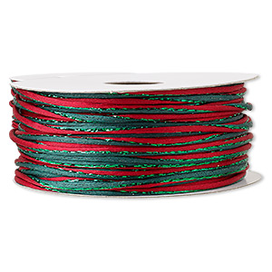 cord, satinique™, nylon and polyester, green and red, 2mm regular with vertical stripe. sold per 100-foot spool.