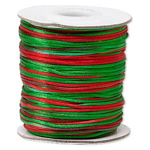 cord, satinique™, satin, christmas, 1mm mini. sold per 200-foot spool.