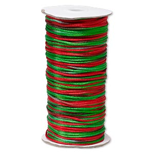 cord, satinique™, satin, christmas, 2mm regular. sold per 400-foot spool.