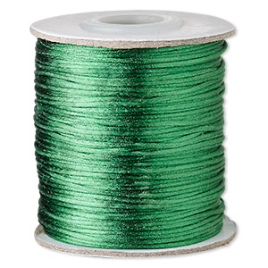 cord, satinique™, satin, dark green, 1mm mini. sold per 200-foot spool.