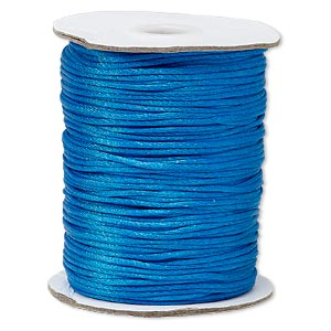 cord, satinique™, satin, dark turquoise blue, 1.5mm small. sold per 400-foot spool.