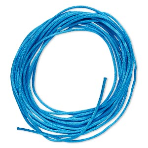 cord, satinique™, satin, dark turquoise blue, 1mm mini. sold per pkg of 10 feet.