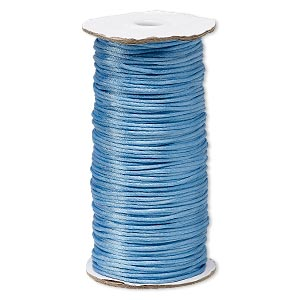 cord, satinique™, satin, denim blue, 2mm regular. sold per 400-foot spool.