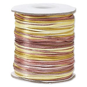 cord, satinique™, satin, falling leaves, 1mm mini. sold per 200-foot spool.