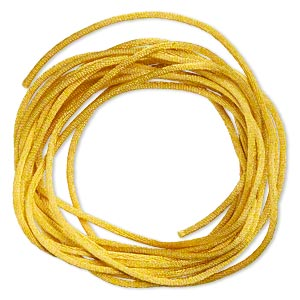 cord, satinique™, satin, gold, 1.5mm small. sold per pkg of 10 feet.