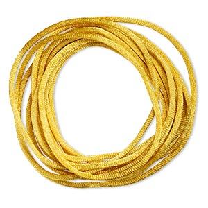 cord, satinique™, satin, gold, 2mm regular. sold per pkg of 10 feet.