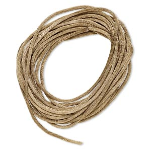 cord, satinique™, satin, light brown, 1.5mm small. sold per pkg of 10 feet.
