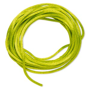 cord, satinique™, satin, lime green, 2mm regular. sold per pkg of 10 feet.