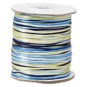 cord, satinique™, satin, ocean, 1mm mini. sold per 200-foot spool.