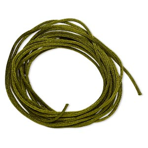 cord, satinique™, satin, olive green, 1.5mm small. sold per pkg of 10 feet.
