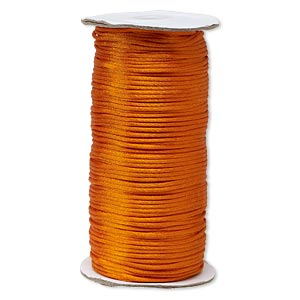 cord, satinique™, satin, orange, 2mm regular. sold per 400-foot spool.