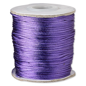 cord, satinique™, satin, purple, 1mm mini. sold per 200-foot spool.