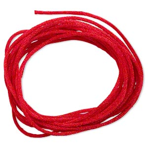 cord, satinique™, satin, red, 1.5mm small. sold per pkg of 10 feet.