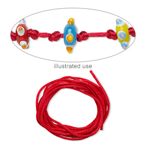 cord, satinique™, satin, red, 2mm regular. sold per pkg of 10 feet.