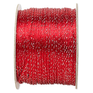 cord, satinique™, satin, red and metallic silver, 2mm. sold per 432-foot spool.