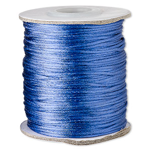 cord, satinique™, satin, royal blue, 1mm mini. sold per 200-foot spool.