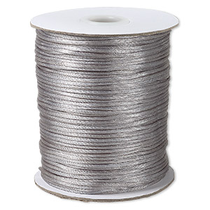 cord, satinique™, satin, silver, 1.5mm small. sold per 400-foot spool.