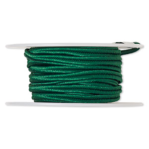 cord, soutache, polyester, kelly green, 3.5mm wide. sold per 6-yard spool.