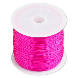 cord, stretch, elastic floss, pink, 0.5mm diameter. sold per 75-meter spool.