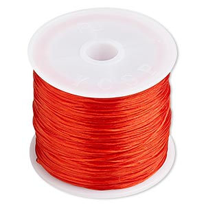 cord, stretch, elastic floss, red, 0.5mm diameter. sold per 75-meter spool.
