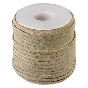 cord, suede lace (dyed), beige, 3-4mm. sold per 25-yard spool.