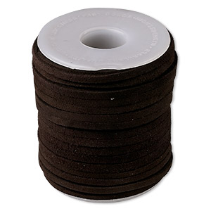 cord, suede lace (dyed), brown, 3-4mm. sold per 25-yard spool.