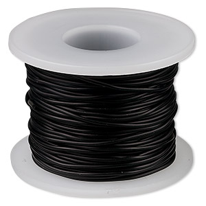cord, synthetic rubber, black, 1mm round. sold per pkg of 25 meters (82 feet).