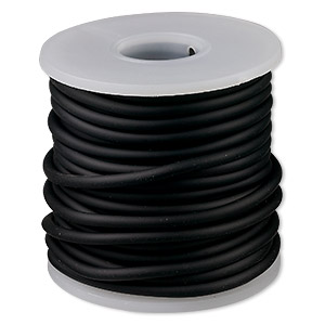 cord, synthetic rubber, black, 3mm round. sold per pkg of 10 meters (32.8 feet).