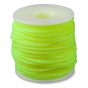 cord, synthetic rubber, fluorescent yellow, 2mm round. sold per pkg of 25 meters (82 feet).