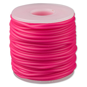 cord, synthetic rubber, hot pink, 2mm round. sold per pkg of 25 meters (82 feet).