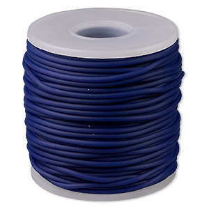 cord, synthetic rubber, royal blue, 2mm round. sold per pkg of 25 meters (82 feet).