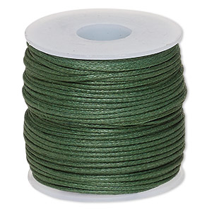 cord, waxed cotton, dark green, 0.5mm. sold per 25-meter spool.