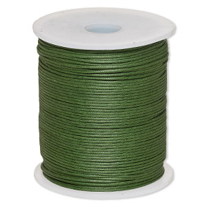 cord, waxed cotton, dark green, 1mm. sold per 100-meter spool.