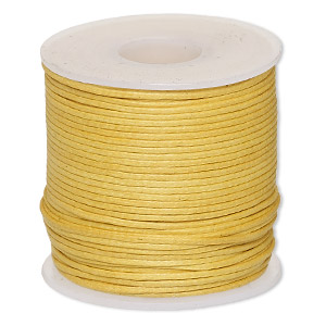 cord, waxed cotton, gold, 0.5mm. sold per 25-meter spool.