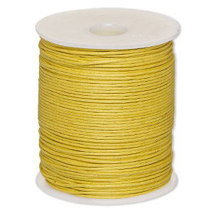 cord, waxed cotton, gold, 1mm. sold per 100-meter spool.