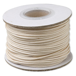 cord, waxed cotton, ivory, 1mm round. sold per 1,000-yard spool.