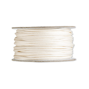 cord, waxed cotton, ivory, 2mm round. sold per 25-yard spool.