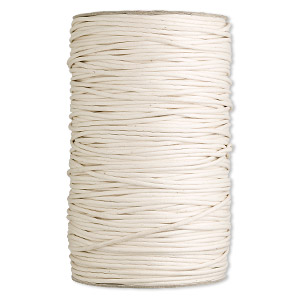 cord, waxed cotton, ivory, 3mm round. sold per 25-yard spool.