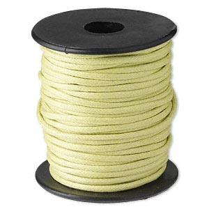 cord, waxed cotton, lemon green, 2mm. sold per 25-meter spool.