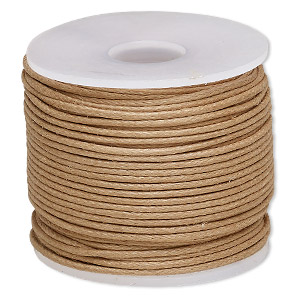 cord, waxed cotton, light brown, 1mm. sold per 25-meter spool.