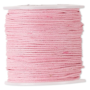 cord, waxed cotton, light pink, 0.5mm. sold per 100-meter spool.