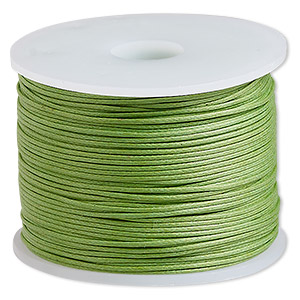 cord, waxed cotton, lime, 0.5mm. sold per 100-meter spool.