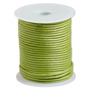 cord, waxed cotton, lime, 2mm. sold per 25-meter spool.