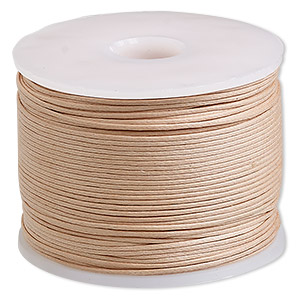 cord, waxed cotton, natural, 0.5mm. sold per 100-meter spool.