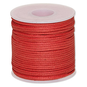 cord, waxed cotton, red, 0.5mm. sold per 25-meter spool.
