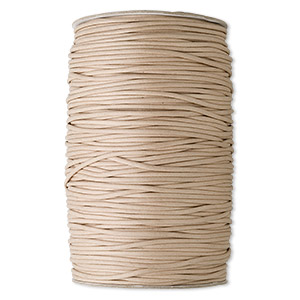 cord, waxed cotton, tan, 3mm round. sold per 300-yard spool.